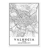 SYKKYS carteles de mapa de la ciudad de Valencia España pinturas en lienzo impresión artística de pared imágenes decorativas decoración Interior del hogar 50x70cm sin marco