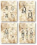 Ramini Brands Original Star Wars Characters Patent Art Drawings - Set of 4 8 x 10 Unframed Prints - Great Gift for Star Wars Fans and Collectors - Mancave Artwork