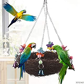 Motonupic Natural Rattan Nest Bird Swing Toy With Bells Cage Perch Stand Parakeet Cockatiel Y110 - Toys Nine year olds Years Kids Boys Dolls Girls Swing 11 year