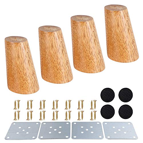 4 patas de muebles de madera de 8 cm / 12 cm de repuesto para patas de muebles con placa de montaje y tornillos para muebles para sofás y armarios (pie inclinado, 8 cm)