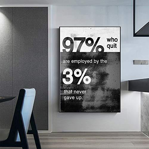 BailongXiao El Cuarteto Inspirador en Blanco y Negro Nunca abandona el Lienzo Moderno para el póster de decoración del hogar,Pintura sin Marco,30x45cm
