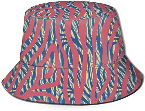 BONRI Unisex Print Eimer Hut Süße Luftballons Sommer Fischer Cap-Color Zebra Tiger Skin-One Size
