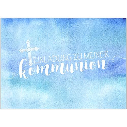 15 x Einladungskarten Kommunion mit Umschlag/Für Jungen Blau Modern/Kommunionskarten/Einladungen zur Feier