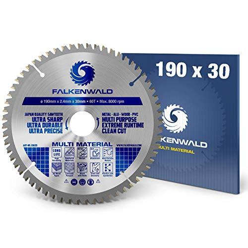 FALKENWALD ® Kreissägeblatt 190 x 30 mm - Ideal für Holz, Metall & Alu - Handkreissägeblatt kompatibel mit Kreissäge von Bosch & Makita - Hochwertiges Universal Sägeblatt mit Hartmetall Zähnen