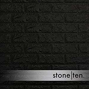 Craft Faux Brick Wall Panels - Peel and Stick Foam Brick - 3D Wall Panels for Fake Brick Wall - Self Adhesive Brick Wall Panels - 3D Brick Wallpaper (10 pack, Black)