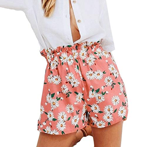 Find Discount Women's Summer Shorts - Wide Leg Daisy Print Shorts Floral Elastic Waist Beach Shorts ...