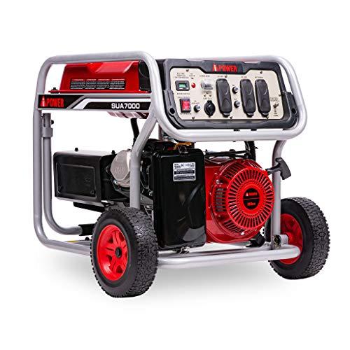 A-iPower SUA7000C 7000 Watt Gas Powered Portable Generator, Wheel Kit Included