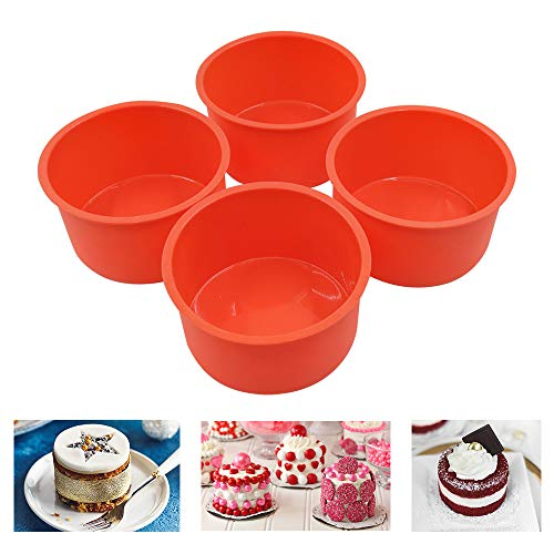 Round Cake Pans 4'' Set of 4 Silicone Molds for Baking Nonstick Baking Pans for MuffinCupcakeLayer Cake Cheese Cake Chocolate and Rainbow CakeRed