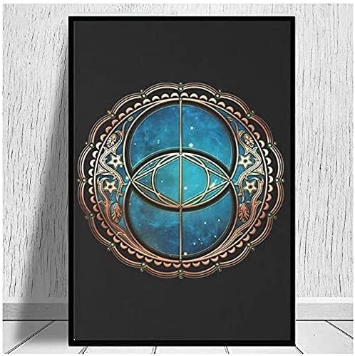 Lesign Decoración Vesica Piscis, CALIFICO Well SymbolBEBC16 Avalon Print-80X105cm 1PCS No Frame
