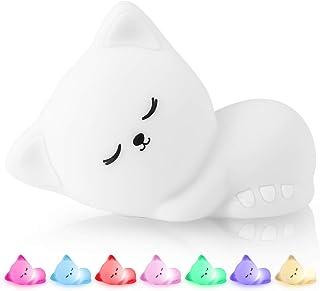 Veilleuse Bébé,Lampe Veilleuse Enfant Rechargeable Chat,Lampe de Chevet Tactile,Veilleuse Portable Bebe Fille Garcon Adult...