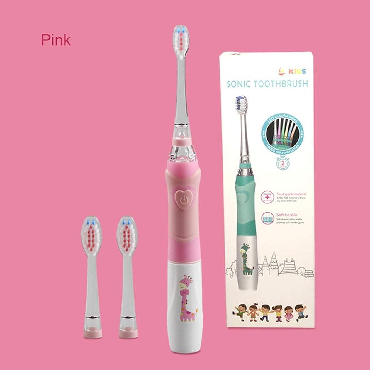 やさしく息苦しいタックルBeTyd 子供電動歯ブラシ用3-12年齢バッテリー子供用歯ブラシLEDソニック子供歯ブラシ付きタイマー3ノズル (Color : Pink)