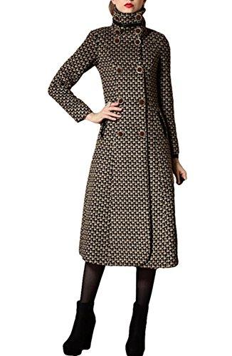 PLAER Damen Sexy Mode Kaschmir Mantel Lange Trench Mantel wollen Mantel (EU 34, Kaffee)