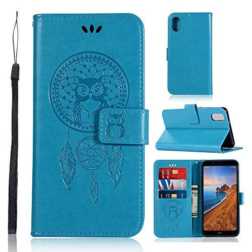 Zchen Xiaomi Redmi 7A Hülle, Kunstleder Portemonnaie Handy-Schutzhülle Book Flip Design Klapphülle Etui Tasche für Xiaomi Redmi 7A (Eule-Blau)