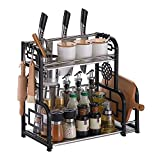 Spice Rack Organizer for Countertop, DUSASA 2-Tier Seasoning Organizer Bathroom Storage Shelf Counter Kitchen Rack Organizer for Large/ Small Spice Jars Condiment Can Sauce Bottle with 6 Hooks