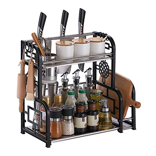 Spice Rack Organizer for Countertop, DUSASA 2-Tier Seasoning Organizer Bathroom Storage Shelf Counter Kitchen Rack Organizer for Large/ Small Spice Jars Condiment Can Sauce Bottle with 6 Hooks
