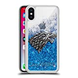 Head Case Designs Officially Licensed HBO Game of Thrones Sigils - Silver Stark Various Designs Blue Clear Hybrid Liquid Glitter Compatible with Apple iPhone X/iPhone Xs
