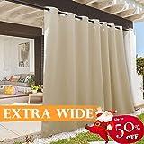 RYB HOME Indoor Outdoor Deck Curtain, Outdoor Patio Curtain Waterproof Windproof, Darkening Window Panel for Sliding Door/Foyer/Arbor/Lanai, 100 inch Width x 84 inch Length, 1 Pc, Biscotti Beige