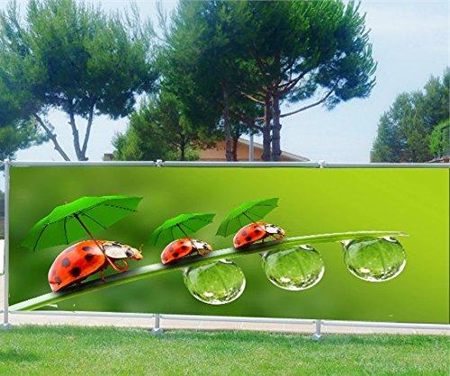 StickersNews Brise Vue, Garten, Terrasse, Balkon Deko Marienkäfer, Kunststoff Stoff, 100%, 180x70cm
