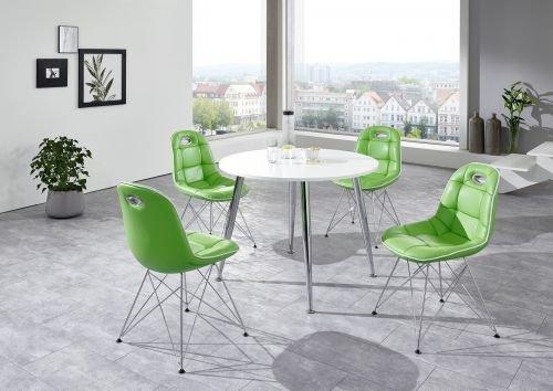 Moebelstore24 zitgroep tafelset Anja/PEP 1 tafel wit en stoelen mintgroen/wit 5-delig