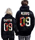 Minetom Moda Hombre y Mujer Pareja Impresión Corona King & Queen Sudaderas con Capucha Manga Larga Jersey Camisa de Entrenamiento Pullover Hoodies Flor EU M(Hombre)