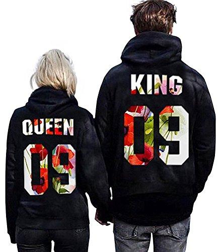 Minetom Moda Hombre y Mujer Pareja Impresión Corona King & Queen Sudaderas con Capucha Manga Larga Jersey Camisa de Entrenamiento Pullover Hoodies Flor EU XS(Uomo)