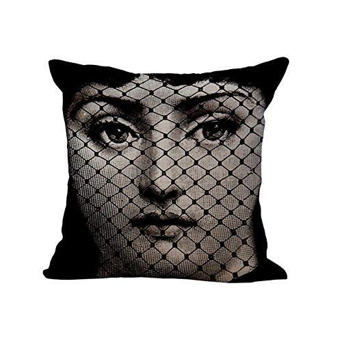 FOR Cushion Cover Retro and Simple Fornasetti Artist Nordic Style 50% Cotton,50% Polyester Pillow Case Sofa Waist Home Decorative Pillow Cover Perfect Pillow Cover Kissenbezüge (55cmx55cm)