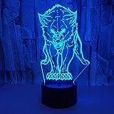 Nuevo Night Lights Animal Wolf Decor 3D LED Nightlights Colorful Wolf Design Lámpara de mesa Teen Wolf Illusion Lights Dormitorio Decoración moderna