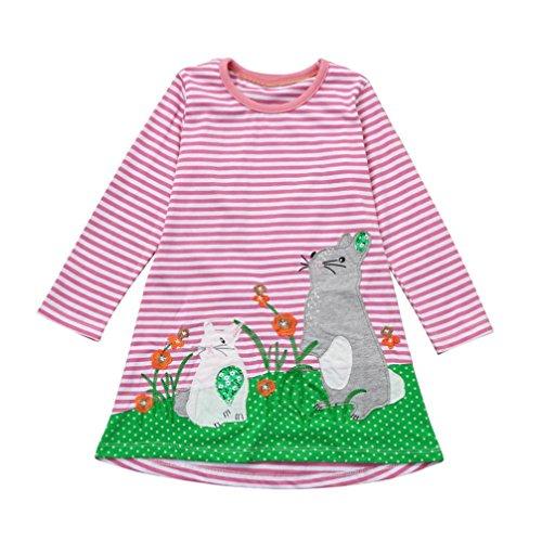 JERFER Baby Kleinkind-Mädchen Langarm Herbst Karikatur Streifen Prinzessin Kleid 1-6T (6T, Rosa)