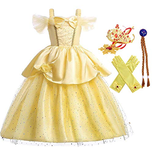 yeesn Little Girls Prinzessin Anna Kostüm ELSA Fancy Up Kleid Kinder Zubehör Krone Zauberstab für Halloween Geburtstag Party Outfit Gr. 2-3 Jahre, Yellow for Belle