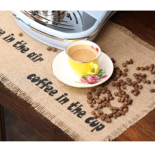 Rustic Coffee Maker Mat,Burlap Placemats Coffee Bar Decor Coffee placemats Table décor placemats for Kitchen,Garden Table,Outdoor Party,1 Piece placemat+2 Pieces Cup mats