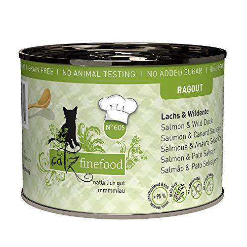catz finefood Ragout N° 605 Lachs & Ente Katzenfutter nass - Feinkost Nassfutter für Katzen in Sauce ohne Getreide und Zucker mit hohem Fleischanteil, 6 x 180 g Dose