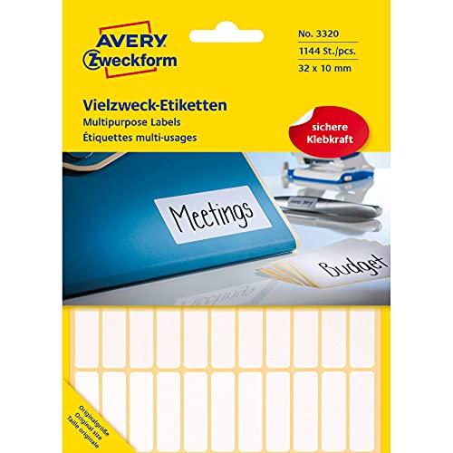 Preisvergleich Produktbild Avery Zweckform 3320 Haushaltsetiketten selbstklebend (31x10mm,  1.144 Aufkleber auf 26 Bogen,  Vielzweck-Etiketten für Haushalt,  Schule und Büro zum Beschriften und Kennzeichnen) blanko