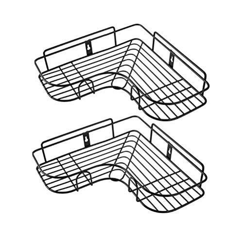 Topbathy - Estantería esquinera para baño (2 unidades, acero inoxidable, sin agujeros), color negro