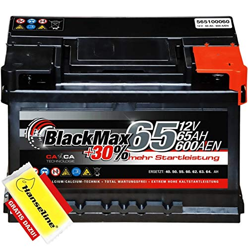 BlackMax Autobatterie 12V 65Ah mit Polfett statt 55Ah 56Ah 60Ah 61Ah 62Ah 63Ah 64Ah