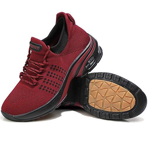 Sixspace Zapatos de senderismo para mujer – Calcetín zapatillas sin cordones para mujer, rojo (Rojo Negro-501), 38.5 EU