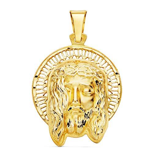 Ciondolo a forma di testa di Cristo in oro 18 carati, 29 mm, con incisione personalizzabile