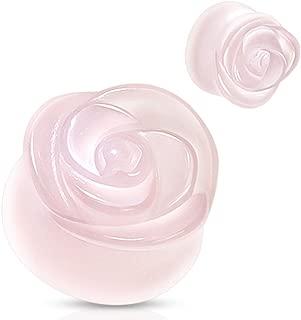 Rose Design Carved On Rose Quartz Double Flared Plugs