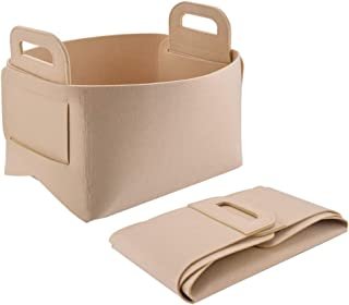 POLATU Felt Storage Bins Baskets Containers with Handles for Home Closet Bedroom Drawers Organizers, Foldable,(Beige, S)