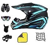 Casco de motocross, para adultos, negro y azul, casco de motocross con gafas, casco completo para bicicleta de montaña, casco de cross (55 ~ 56 cm)