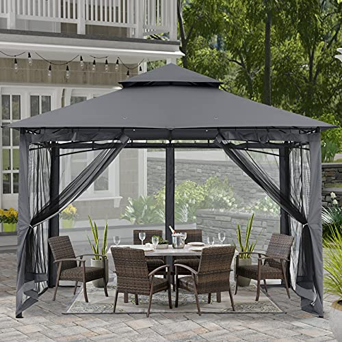 ABCCANOPY 8x8 Patio Gazebos for Patios Double Roof Soft Canopy Garden Gazebo with Mosquito Netting...