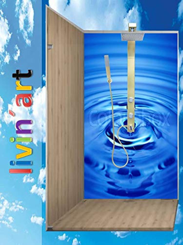 Original LIVINART Duschrückwand, Badrückwand, Rückwand, Küchenrückwand - Wasser, Wassertropfen, 1 Platte mit Wunschgre bis 150x300cm, kostenloser Zuschnitt auf Ihre exakten Wunschmae