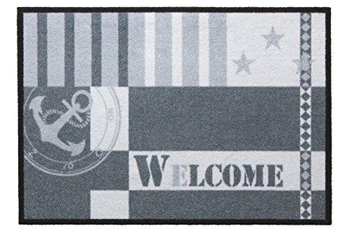 andiamo Fußmatte Metropolitan für den Eingangsbereich Robuste Schmutzfangmatte Bedruckt, grau, 39x58 cm