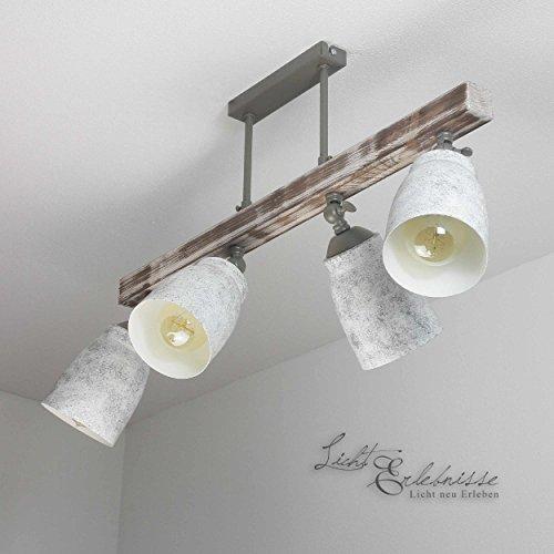 Raffinerad taklampa i shabby vit grå mönstrad vintage stil 4 x E27 upp till 60 watt 230 V av metall och trä kök matsal lampor lampor inomhus belysning