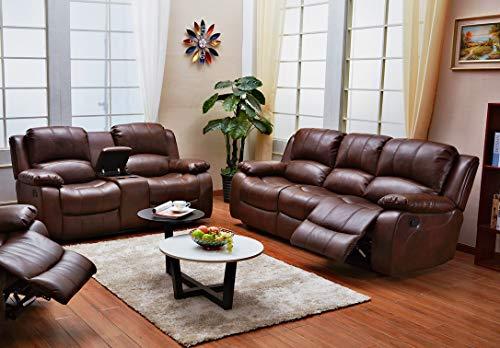 Betsy Furniture 2PC Bonded Leather Recliner Set Living Room Set, Sofa Loveseat Pillow Top Backrest and Armrests 8018 (Brown, Living Room Set 3+2)