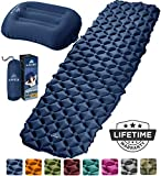 HiHiker Camping Sleeping Pad + Inflatable Travel Pillow – Ultralight Backpacking Air Mattress w/Compact Carrying Bag –Sleeping Mat for Hiking Traveling & Outdoor Activities (Blue)