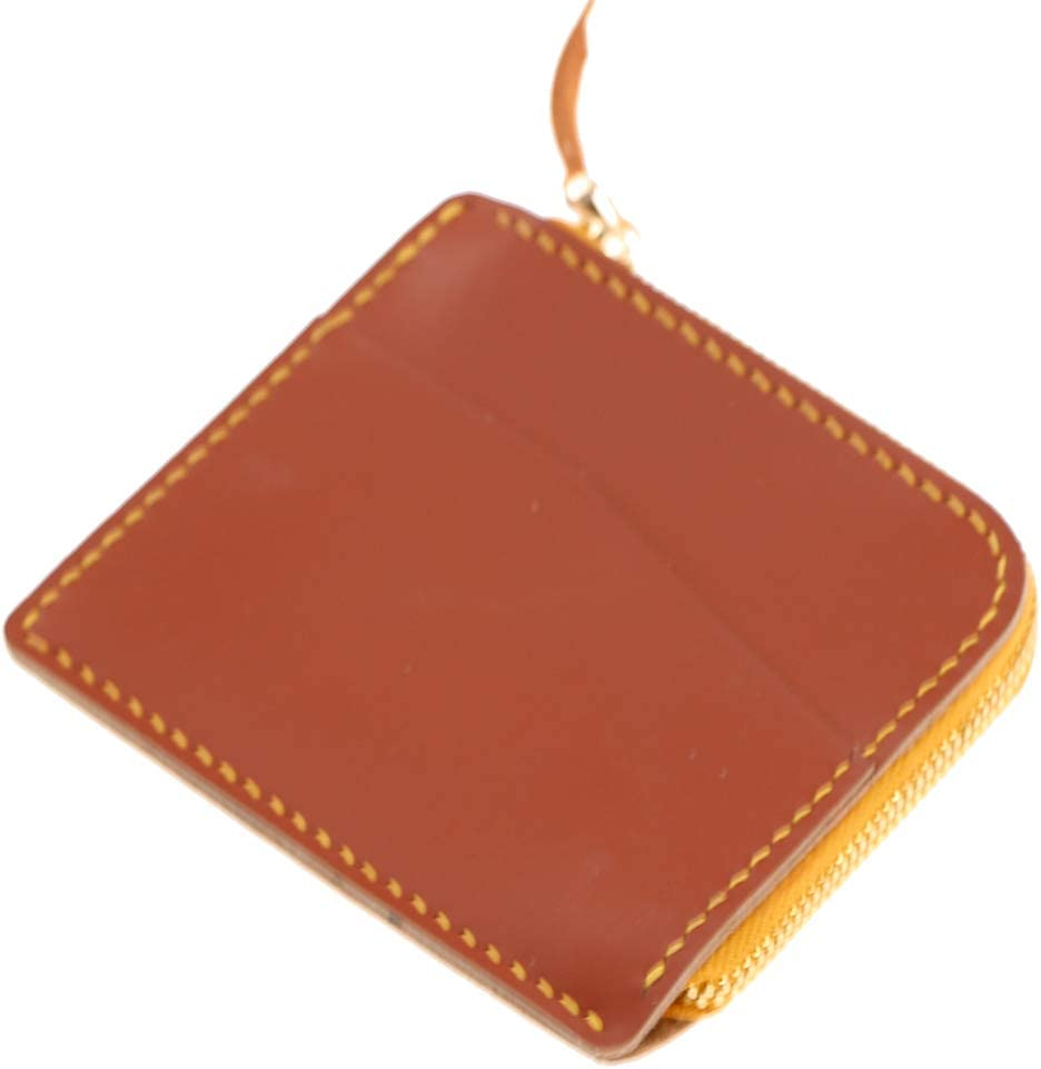 Unisex Calfskin Leather Zip Card Holder Small Coin Purse Case Wallet Travel Pouch Wallet (Brown)