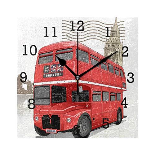 EZIOLY Reloj de pared cuadrado cuadrado de autobús rojo de Londres, sin garrapatas, digital, silencioso, para cocina, dormitorio, sala de estar