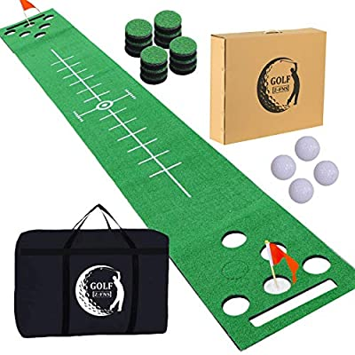 2-FNS Golf Putting Green Mat, Practice Golf Putting Mat Game Set for Backyard Office House Party with 4 Golf Balls, 1 Golf Mat, 12 Golf Hole Covers, 1 Carring Bag