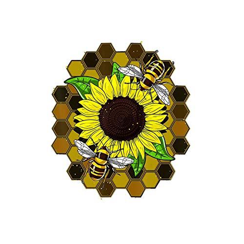 Hipeya Weltbienentag 3D-Druck Sonnenblume Bee Wandtattoo Aufkleber Bienenfest Hexagon Bienenwabe Wandaufkleber Frühling schöne Selbstklebend Wandbild Wandsticker für Türen Fenster Kühlschrank 40x30cm
