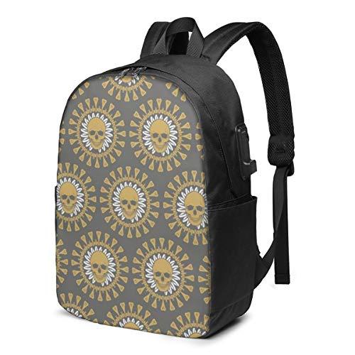 Geometric Skulls School Backpack Teen Girls and Boys Bookbag School Bag College Laptop Backpack with USB Charging Port Travel Rucksack
